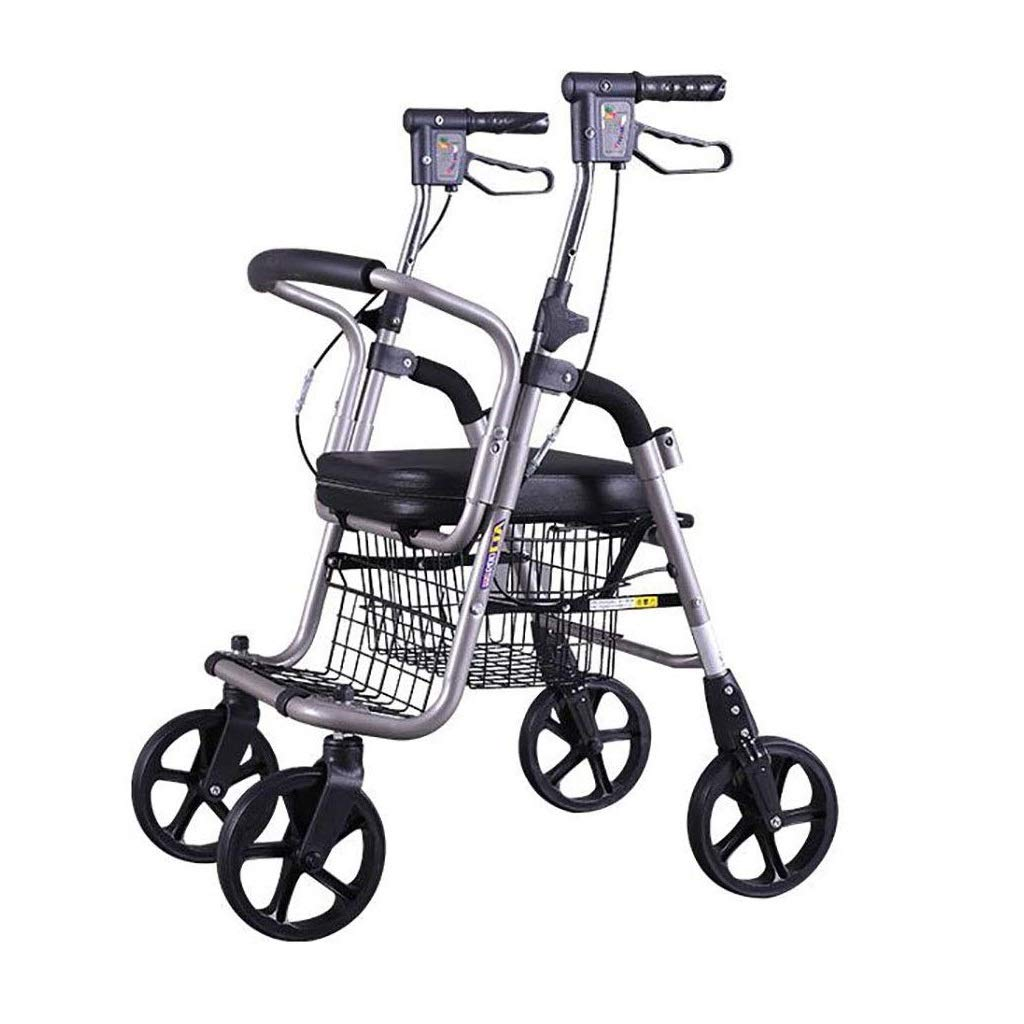 Premium Lightweight Foldable Aluminum Rollator Walker,Adjustable Handle Height with Upholstered Seat and Lower Basket Double Safety Brake Auxiliary Walking Safety Walker (Color : Black A) by YL WALKER