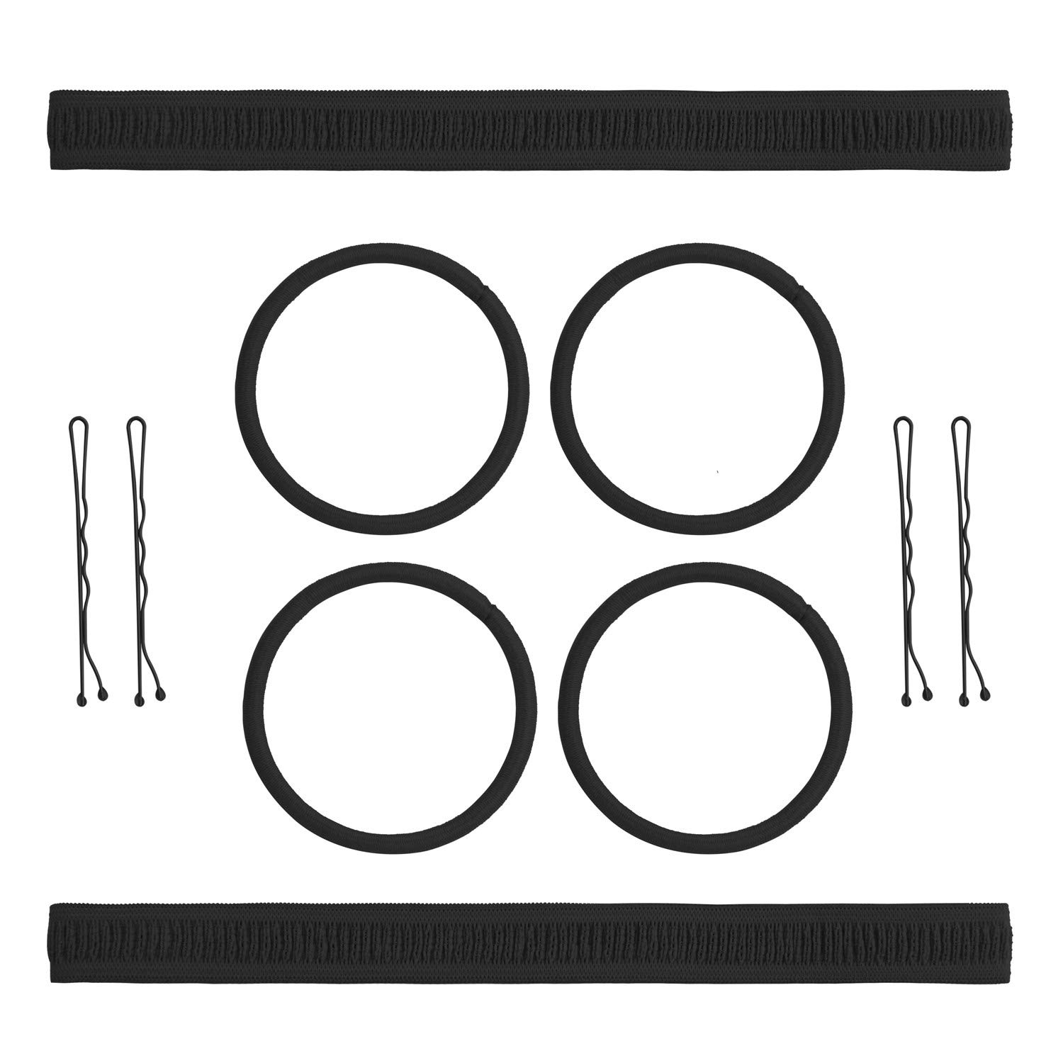 AwEx Hair Accessory Kit, Brown, Pack of 4 PCS Headbands Coated Silicone Grips, 4 mm Medium Hair Ties 30 PCS, 2 inches Pretty Bobby Pins 60 PCS