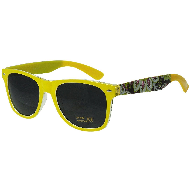 Wayfarer verspiegelte Nerd Sonnenbrille Gelb-Schwarz
