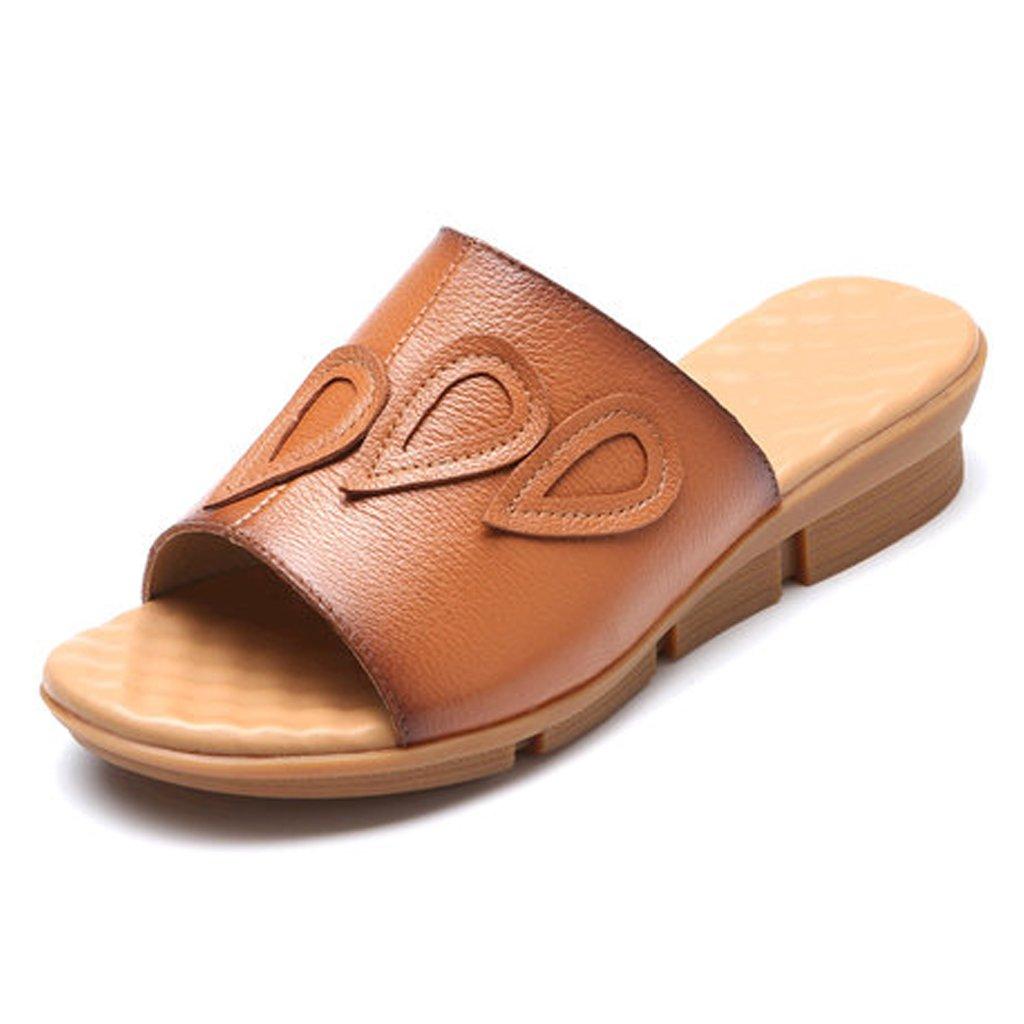 YUBIN Sandalias Al Aire Libre De Cuero Genuino Cómodo Antideslizante Desgaste De Ocio Fuera De La Parte Inferior Suave Zapatos De Mujer Zapatos De Playa Arrastre De Una Palabra Cuña Retro Plana 35|D