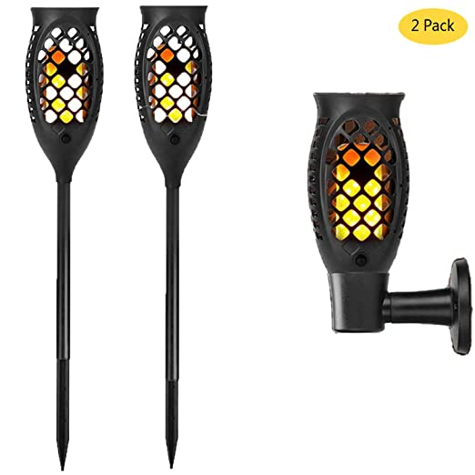 4Pack Flame Solar Torch Light 99 LED Flickering Dancing Garden Path Lantern Lamp