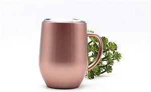 12oz stainless steel milk beer swig wine cup creative egg shape Coffee tea Mug with handle,COPPER,350ml