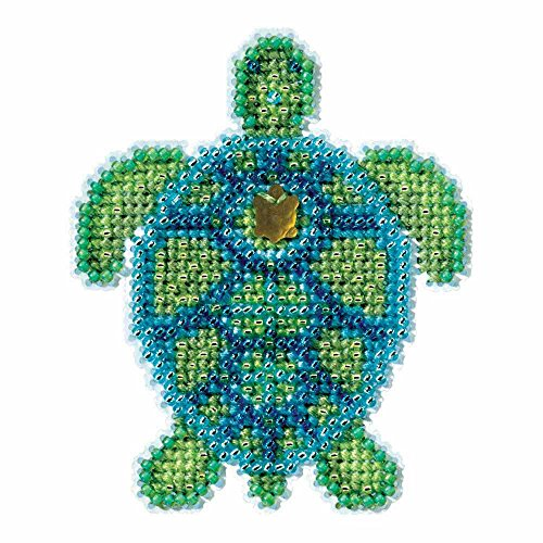 Hill Treasure Glass Mill (Sea Turtle Beaded Counted Cross Stitch Ornament Kit Mill Hill 2016 Spring Bouquet MH181611)
