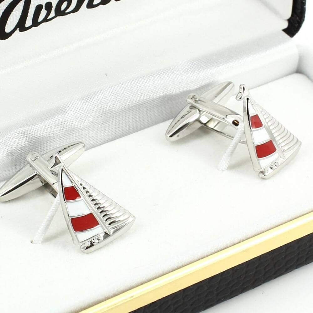Voilier Rouge Cravate Avenue Signature Boutons De Manchette
