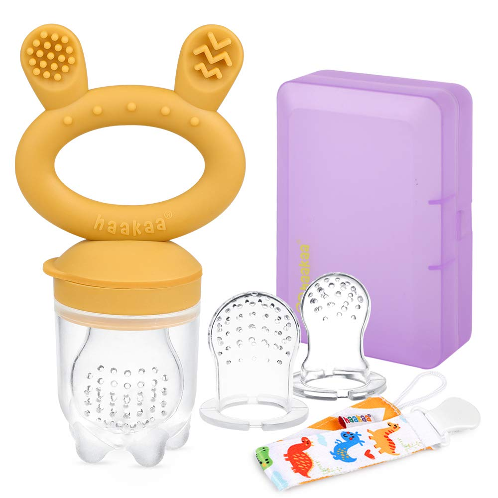 Haakaa Baby Food Feeder/Fruit Feeder Pacifier Silicone Baby Feeder Teether for Babies Infant Teething Toys for 3 Months+ BPA Free, with Pacifier Clip & Travel Case(1 Pack, Mustard)