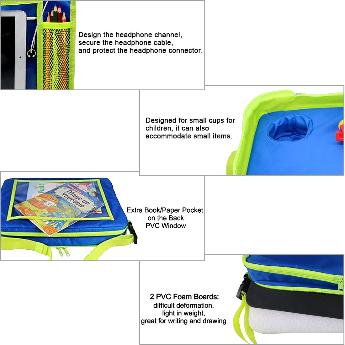 Kids Car Seat Travel Tray,Detachable Toddler Lap Table Activity Tray with Cup Holder,Backseat Storage Organizer,Carry Bag and iPad /& Tablet Holder Great for Activity Snacks Play