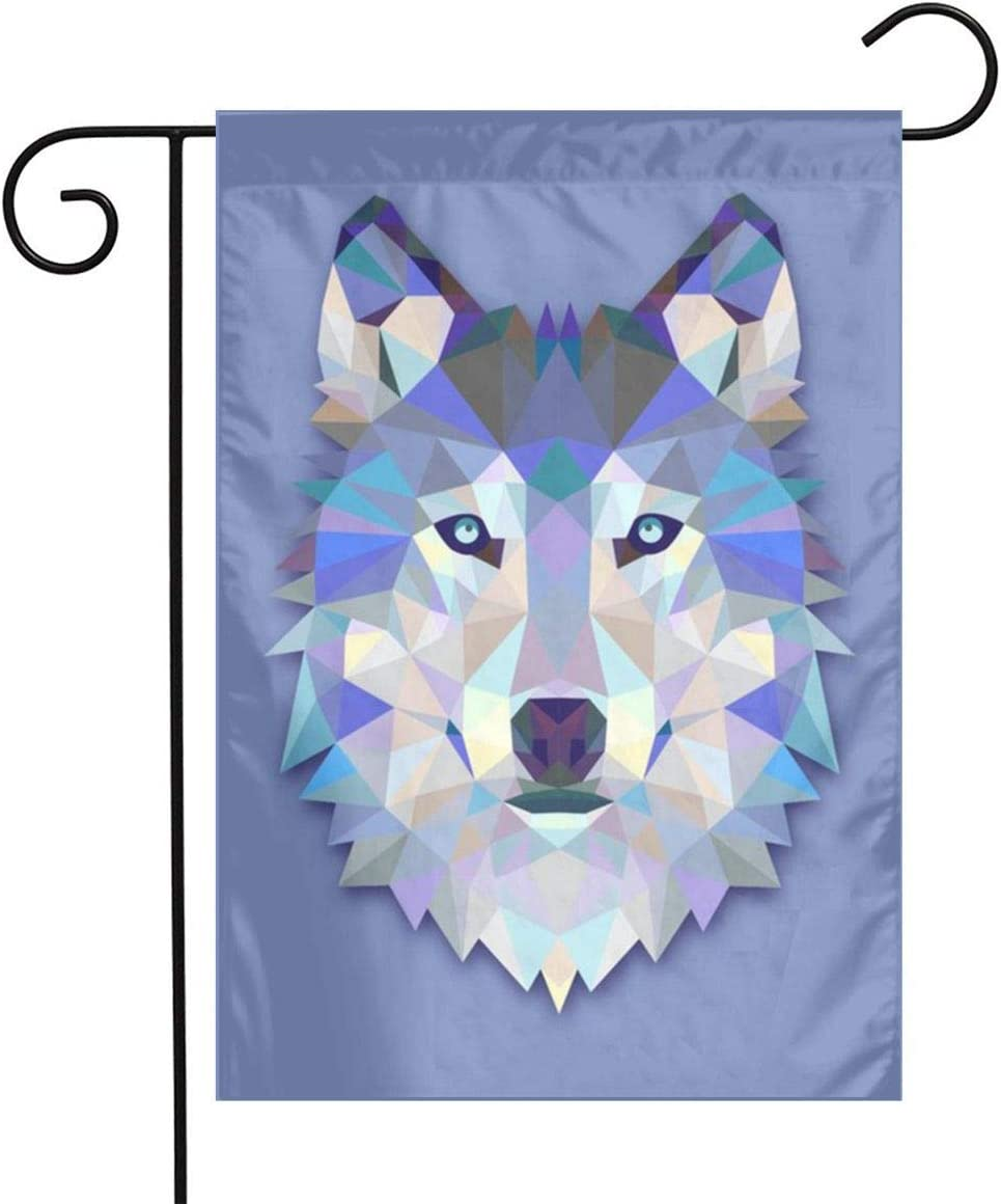 MSGUIDE Triangle Wolf Garden Flag Flower House Yard Decoration 12x18 Inch for Outdoor Balcony