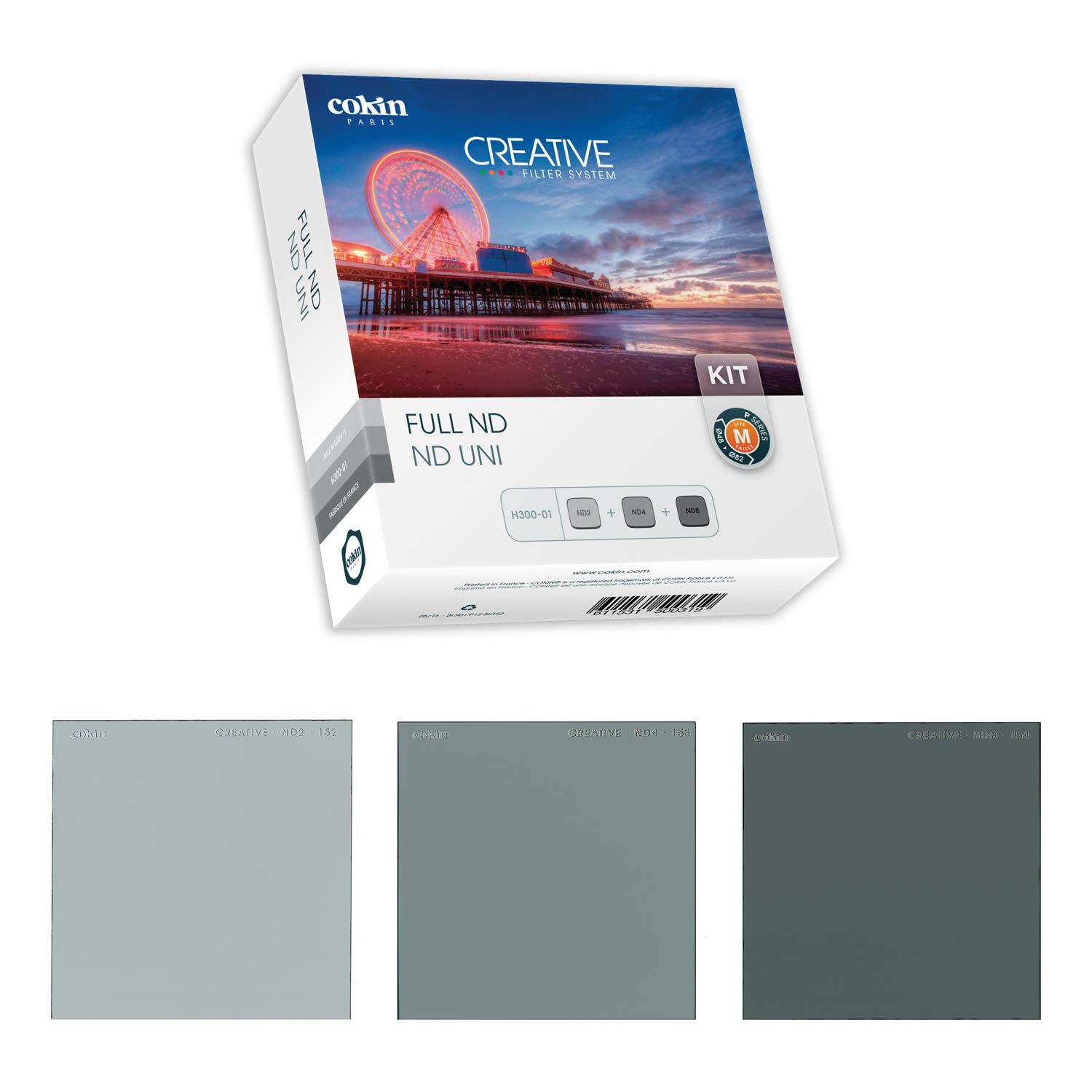 Cokin Square Filter Full ND Creative Kit - Includes ND2 (1-Stop), ND4 (2-Stop), ND8 (3-Stop) for M (P) Series Holder - 84mm X 84mm