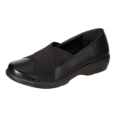 Refresh Footwear Women's Cross Over Stretch Slip-On Comfort Flat Shoe (6 B(M) US, Black) | Shoes