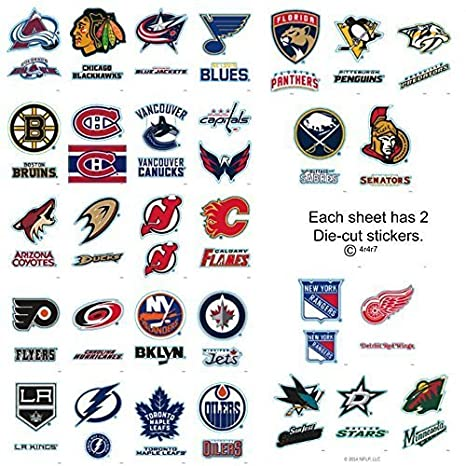 b94b672ad Complete Set 30 - 60 NHL Hockey Team Jersey Logo Sports Stickers - 2  Stickers per Card. Stanley Cup Champions Penguins Rangers Red Wings Bruins  Blackhawks ...
