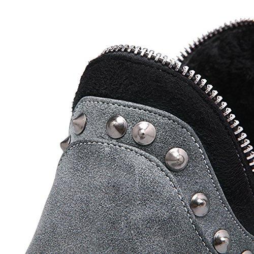 Pinker Rivet Heels Boots Winkle BalaMasa Ladies Gray Chunky Imitated Leather tCPxyfqXw
