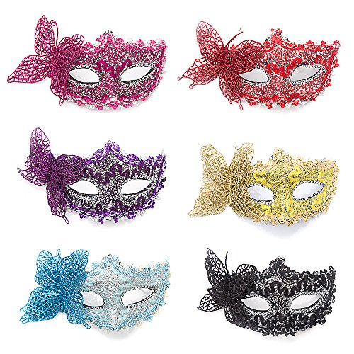 Farway 6-packa Women Girl Sexy Lace and Butterfly Cosplay Costume Eye Mask for Halloween Masquerade (Masquerade Masks For Girls)