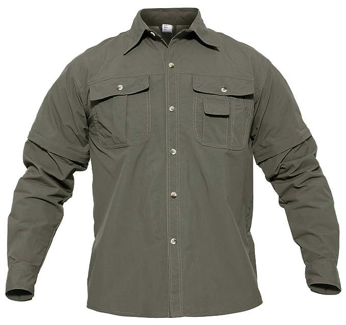 4157a4a7ad29 CRYSULLY Mens Convertible Shirt Hiking Shirts Tactical Quick Drying Thin  Breathable Shirts for Spring Summer Army
