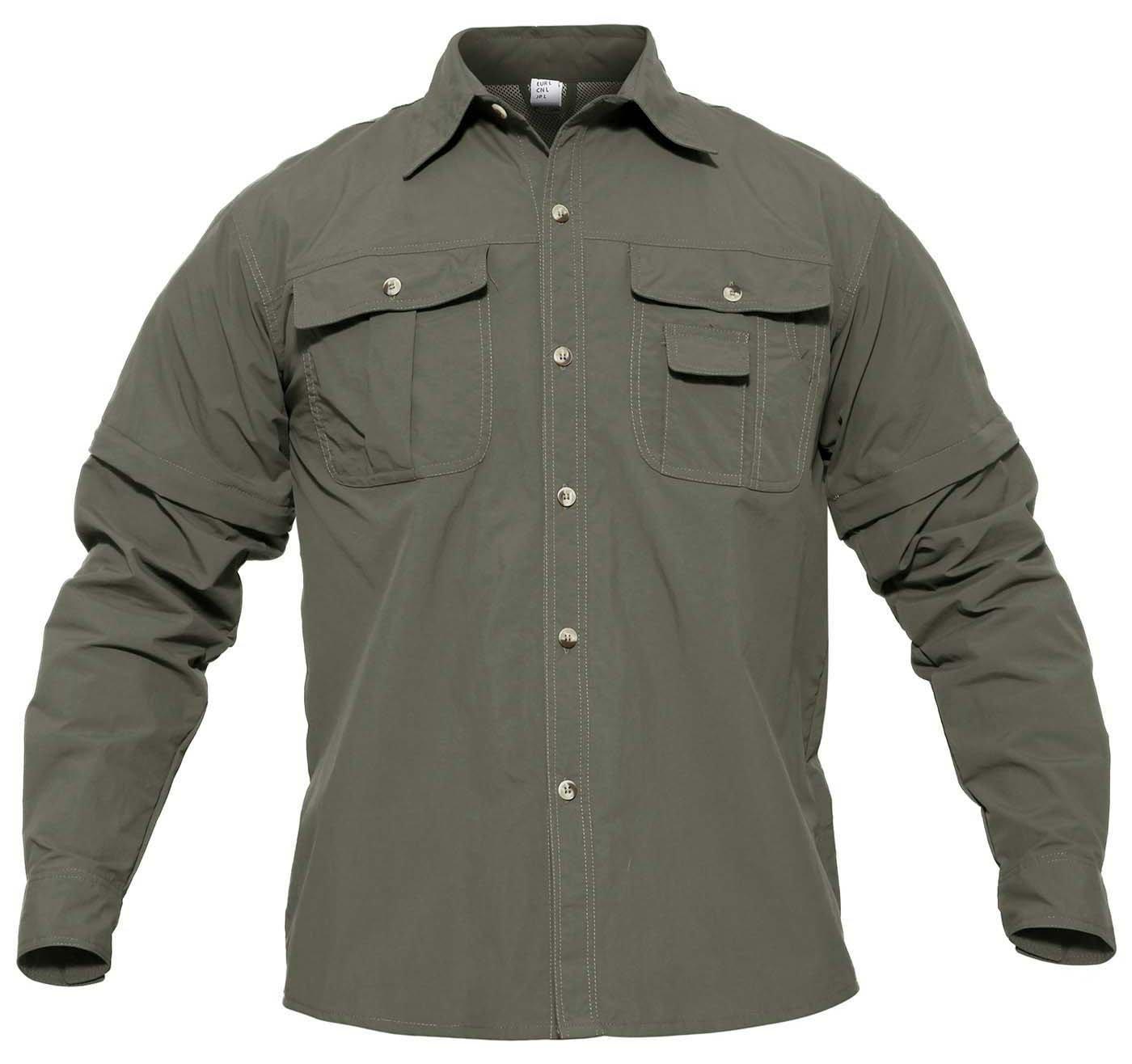 CRYSULLY Mens Convertible Shirt Hiking Shirts Tactical Quick Drying Thin Breathable Shirts for Spring Summer Army Green