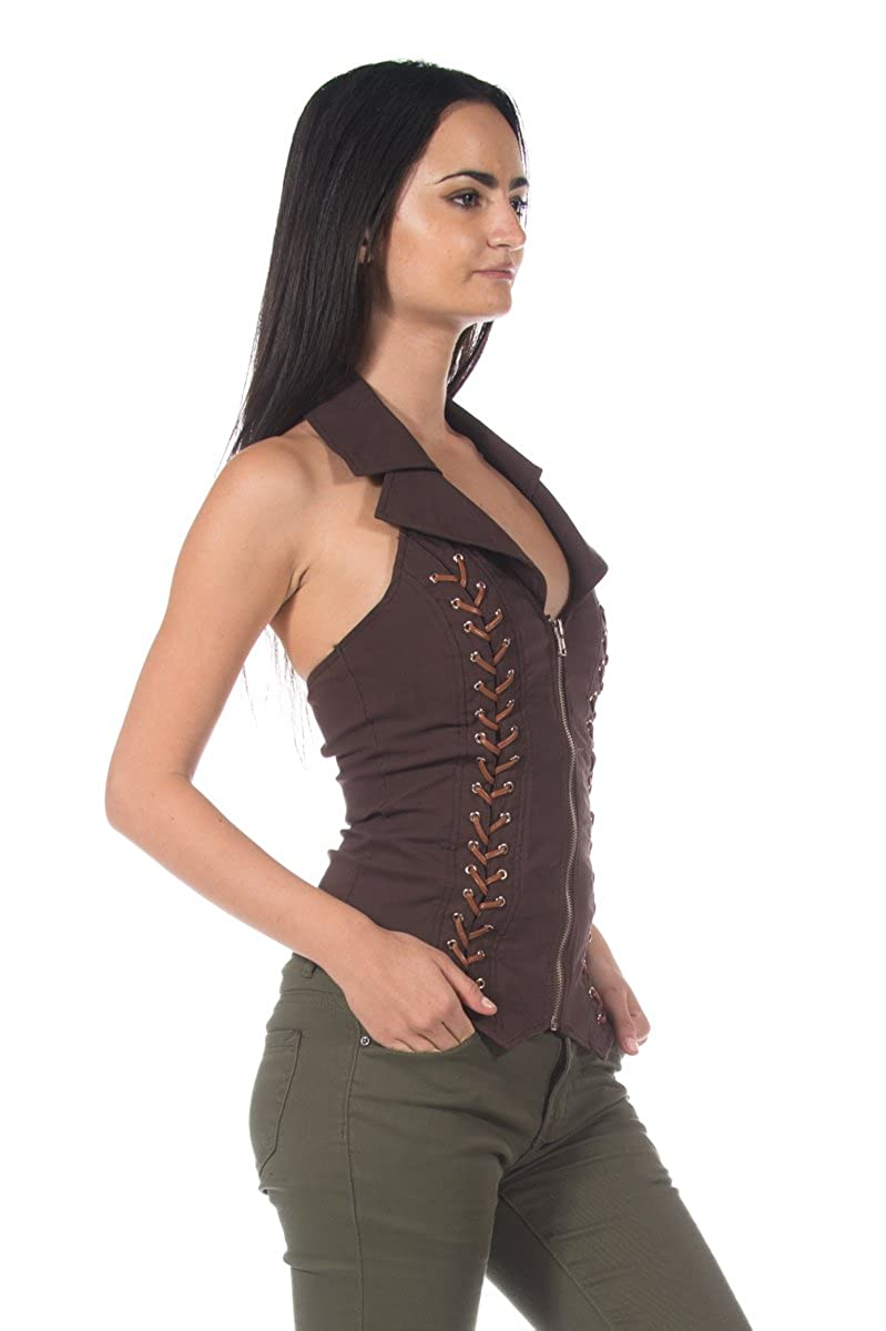 8709dbf509 Women s Brown Corset Style Steampunk Wild West Victorian Western Top Blouse  at Amazon Women s Clothing store