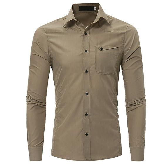 Camisas para Hombre, Manga Larga, Informal, con Botones - Beige ...