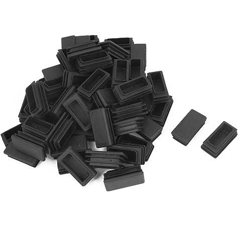 SOURCING MAP De pl/ástico de color negro rectangular de acoplamiento tubo x tap/ón obturador gorra 25 mm x 38 mm 5 piezas