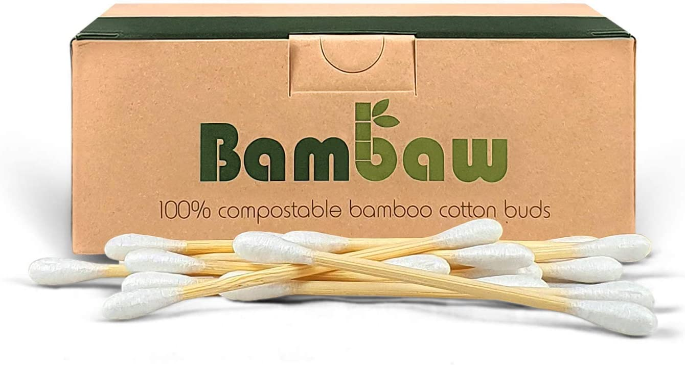 Confezione di Cartoncino Riciclato|Biodegradable 400 pezzi| Bamboo Eco Friendly Cotton Fioc Cotton Fioc ecologici| Tamponi di Cotone| Bastoncini in legno