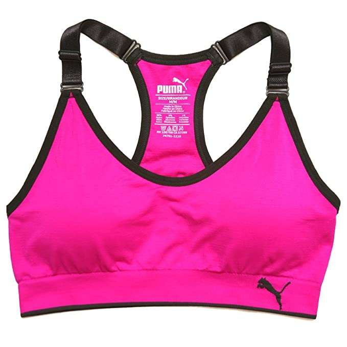 67b1bfb2c4 PUMA Women s Padded Light Support Sports Bra PF1722270BR  Amazon.ca ...