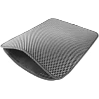 Haihuic Cat Litter Mat Anti-Tracking, 30 x 30 cm Honeycomb Double Layer Waterproof Urine-Proof Trapping Mat for Litter Boxes, Easy Clean Scatter Control Grey