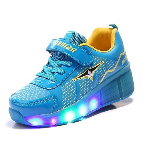 3c45eb4c Led Luces Zapatos con Ruedas para Pequeños Niños y Niña Automática Calzado  de Skateboarding Deportes de