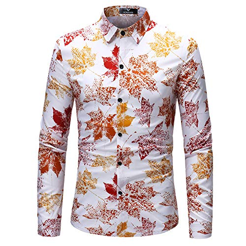 Misaky Men's Shirt Maple Leaf Printing Top Autumn Winter Fashion Casual Long Sleeve Blouse(White, US L/Tag (Maple Leaf Eyelet)