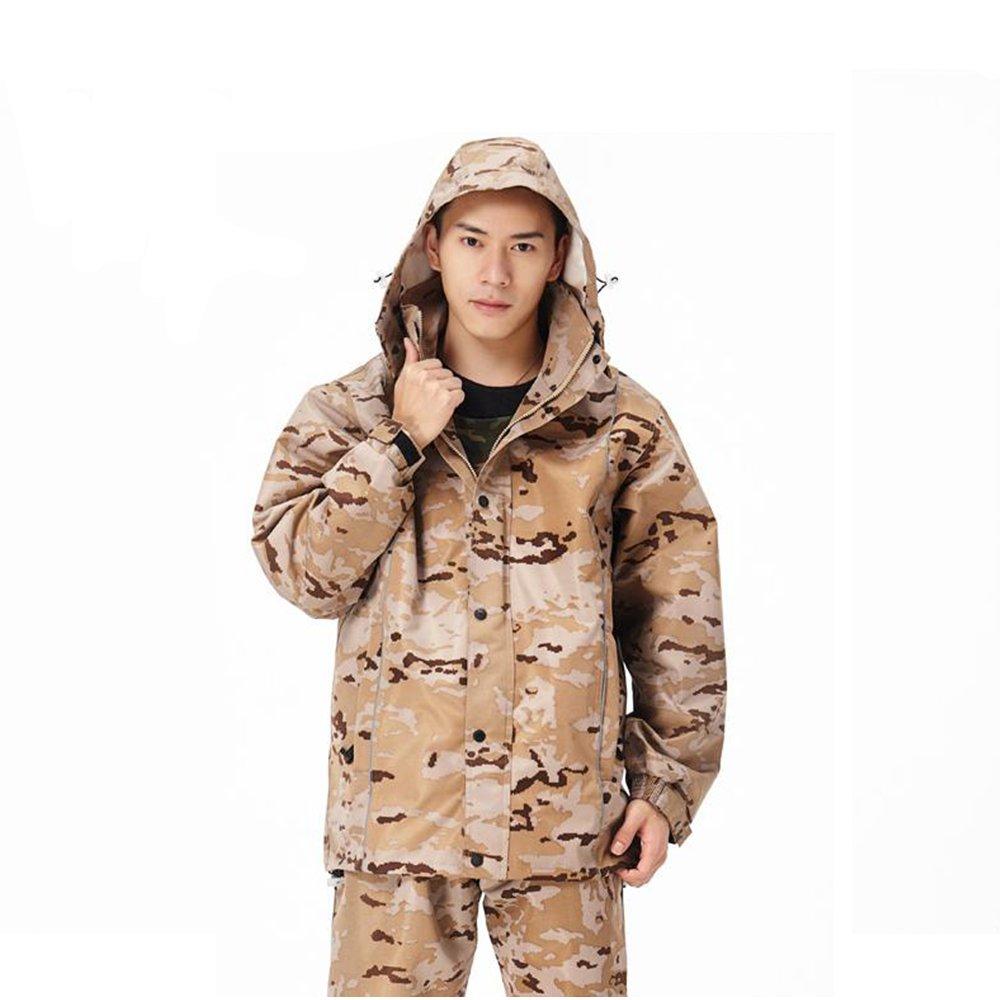 Aihifly tragbar Beige Camouflage Wasserdichte Double Adult Split Herren Regenmantel Anzug (Größe   XL)