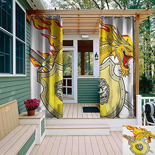 leinuoyi Dragon, Outdoor Curtain Ends, Legendary Creature with Royal Shield Hero Knight Medieval Times Print, for Balcony W96 x L108 Inch Marigold Pistachio Green