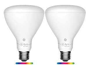 GE Lighting 93107095 C by GE Smart BR30 Full Color, Works with Alexa and Google Assistant, WiFi Enabled, 2-Pack Connected LED Bulb