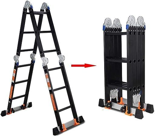ZAQI Escalera Extensible Escalera telescópica Escaleras telescópicas de Aluminio, Escalera Extensible de Andamios multiposición de Alta Resistencia Negra para áticos de tejados, 150 kg: Amazon.es: Hogar