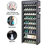 Fabric Shoes Rack Cabinet Storage Closet Organizer Non Woven 10 Tiers Ultra Wide 27 Pairs Space Grey Portable Dustproof for Hallway Bedroom Living Room