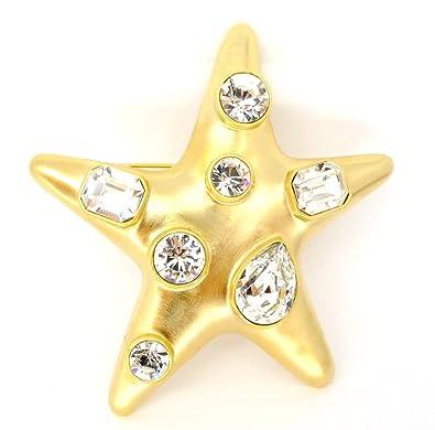 Kenneth Jay Lane Satin Gold Crystal Star Brooch Gold Er2qB