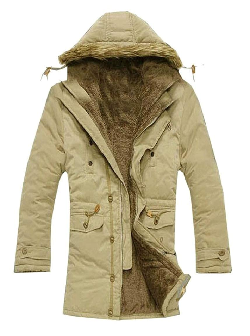 HTOOHTOOH Mens Casual Winter Warm Fleece Quilted Parka Coat Hooded Outwear