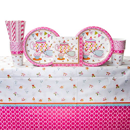 Tea Time Party Supplies Pack for 16 Guests | Straws, 16 Dinner Plates, 16 Luncheon Napkins, 16 Cups, and Table Cover | Perfect Addition to Tea Party Decorations, Tea Party Favors, and Tea Party Sets ()