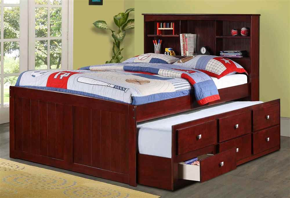 full size bed with trundle bedroom set amazon kids dark cappuccino brown kitchen dining captains and storage canada
