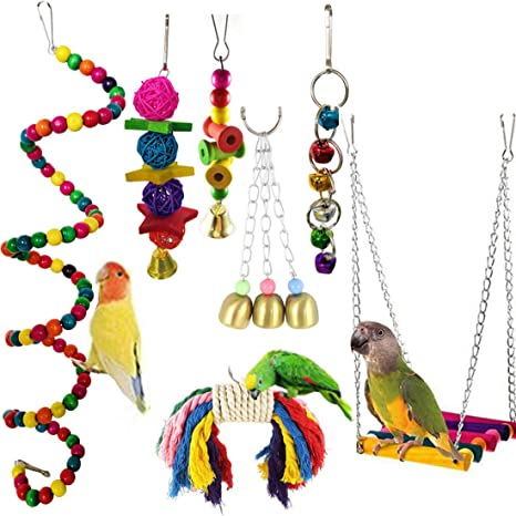 Cockatiel 8 pcs Bird Parrot Toys Parakeet Natural Wood Parrots Bird Swing Toys Swing Chewing Hanging Perches with Bells Finch Toys for Parrots Mynah Love Birds Small Medium Parakeet Cages