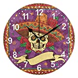 SUABO Home Decorative Desk Clock Round Wall Clock 9.5 inch with Mexican Skull Pattern Printed Clock
