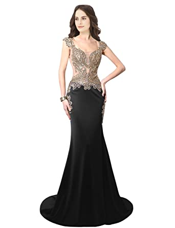 c102093c338 Sarahbridal Women s Gold Applique Beaded Prom Dress Long 2019 Mermaid  Evening Ball Gowns with Sleeve Black