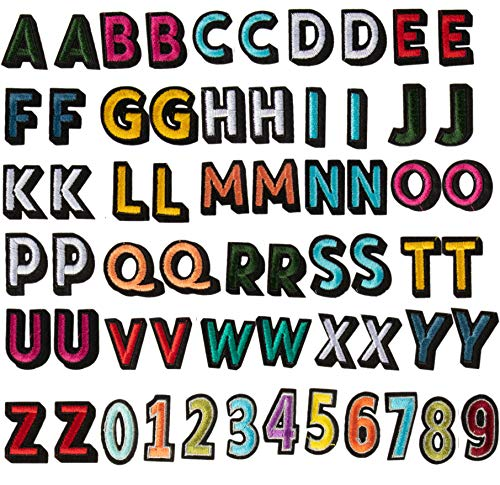 62-Piece Alphabet Letter and Number Patches - Embroidered Iron on and Sew on Applique for Hats, Jacket, Shirt, Jeans, and DIY Crafts, 2 Set 26 Letters and 1 Set Numbers, 1.4 x 1 Inches