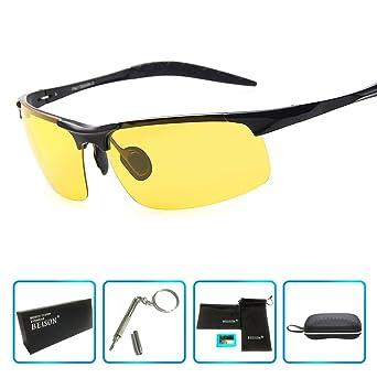 0695e9b7d21 Beison HD Night Vision Goggles Driving Glasses Polarized Sunglasses Anti- Glare (Black