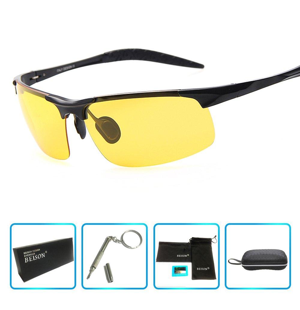 Beison HD Night Vision Goggles Driving Glasses Polarized Sunglasses Anti-Glare (Black, Night Vision Yellow)