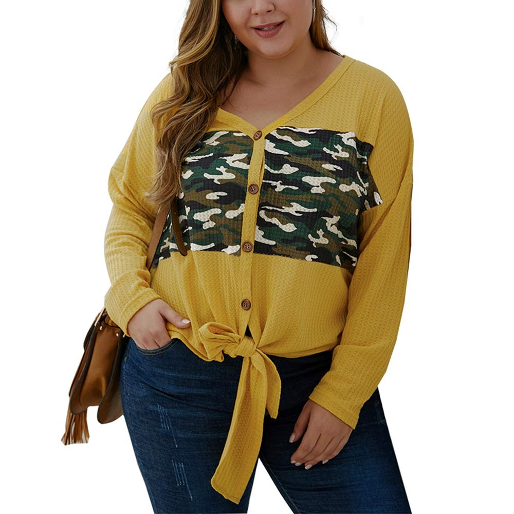 KINGLEN Womens Top Women's Plus Size Knit Sweater,Long Sleeve Camouflage Button Down V Neck Front Twist Knotted Shirts by KINGLEN Womens Top