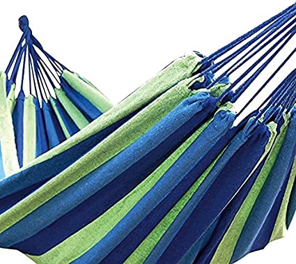 2x1mt Amaca in Cotone Portatile e richiudibile in Un Sacchetto Dimensioni Colore Blu