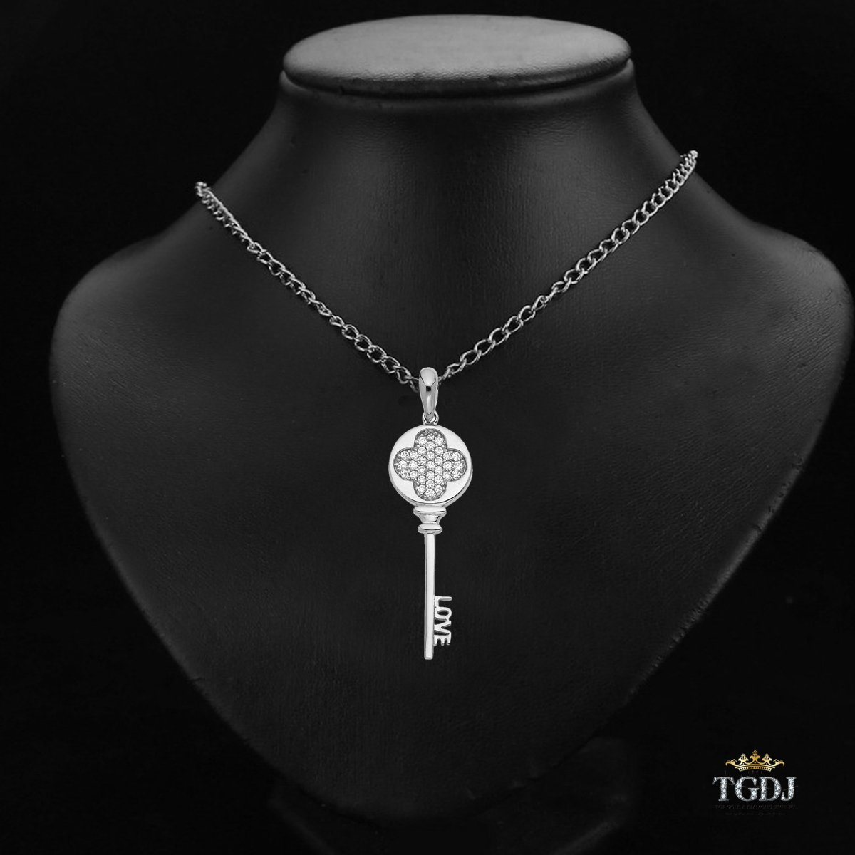 TGDJ 14k White Gold Love Key Pendant Height 32 MM Width 11 MM