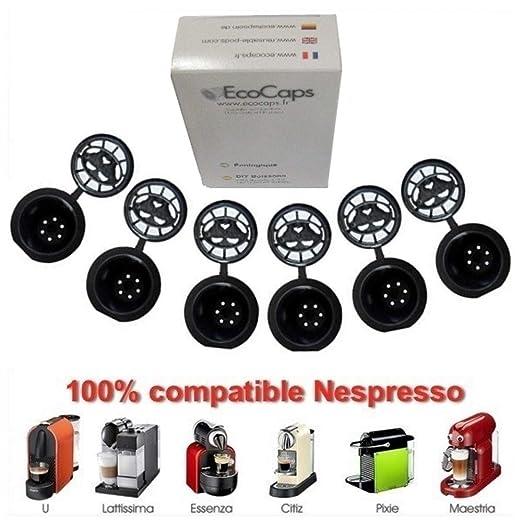 Coffee2u recargable reutilizable cápsulas de café para Nespresso - 10 café Pods - (compatible con todas las cafeteras MONODOSIS Nespresso de después ...