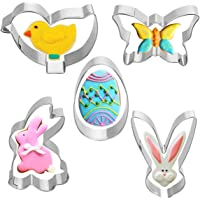 5pcs Easter Cookie Cutters, Stainless Steel Non-Stick Mini Biscuit Fondant Molds with Rabbit Chick Easter Egg Butterfly…