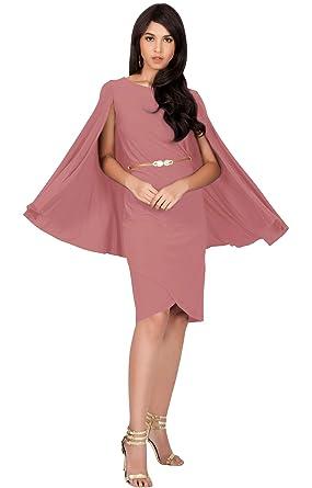 c0a46482507 KOH KOH Petite Womens Long Cape Batwing Cloak Dolman Sleeve Belt Knee Length  Fall Winter Work