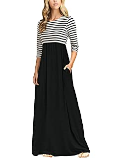 bf665ed806b3 MEROKEETY Women's Striped Scoop Neck 3/4 Sleeve Casual Maxi Dress with Side  Pockets