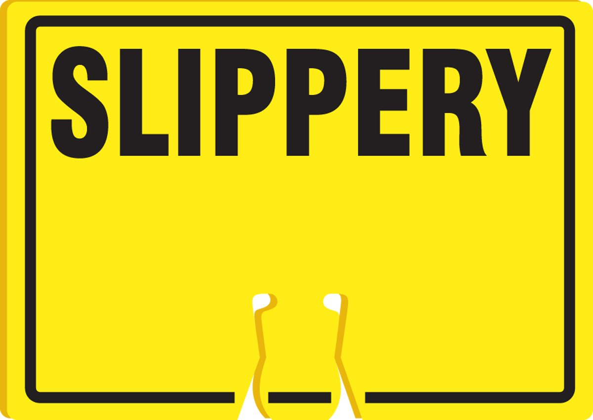 LegendSLIPPERY 10 Length x 14 Width x 0.060 Thickness Accuform Signs FBC729 Plastic Traffic Cone Top Warning Sign Black on Yellow
