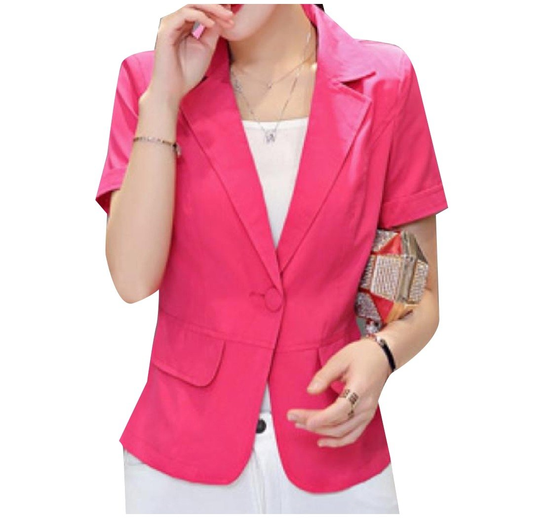 Comfy Women's Trim-Fit Short Sleeve OL Office Suit Jacket Blazer Red 2XL
